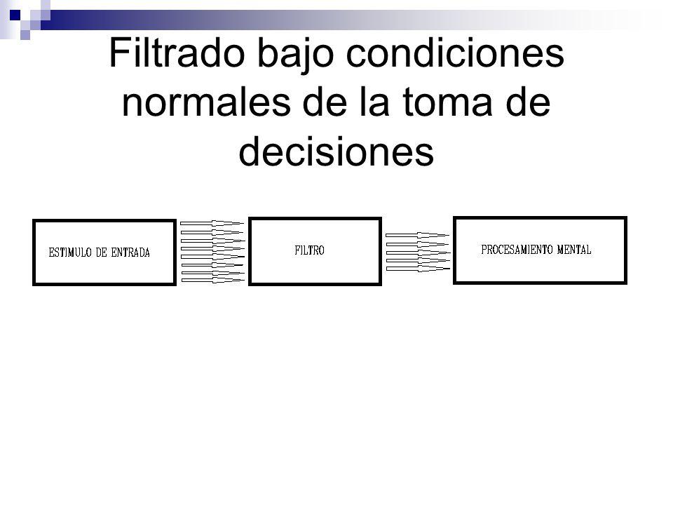 Filtrado bajo condiciones normales de la toma de decisiones