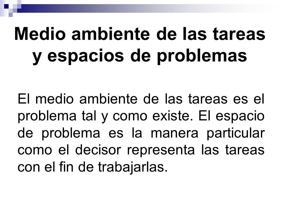 El medio ambiente de las tareas es el problema tal y como existe.