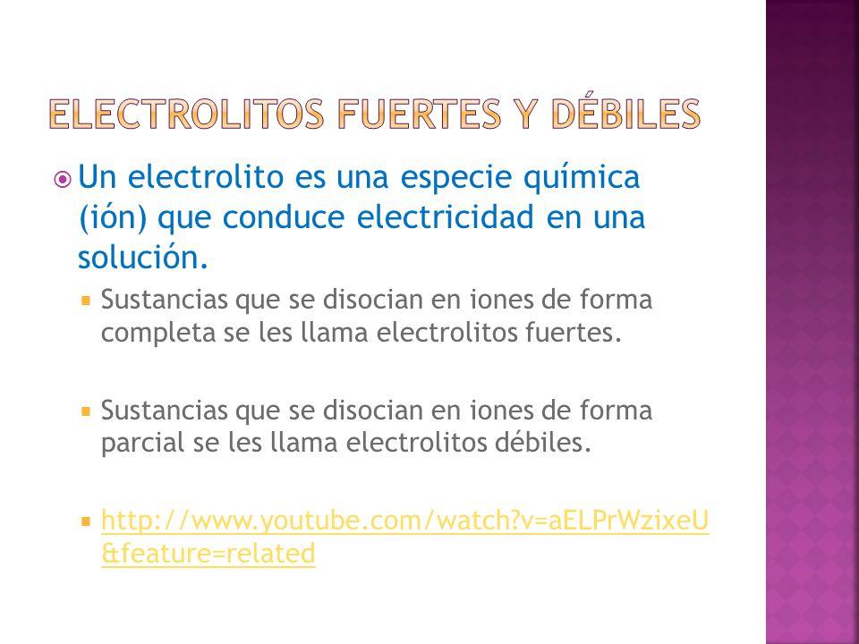 Un electrolito es una especie química (ión) que conduce electricidad en una solución. Sustancias que se disocian en iones de forma completa se les lla