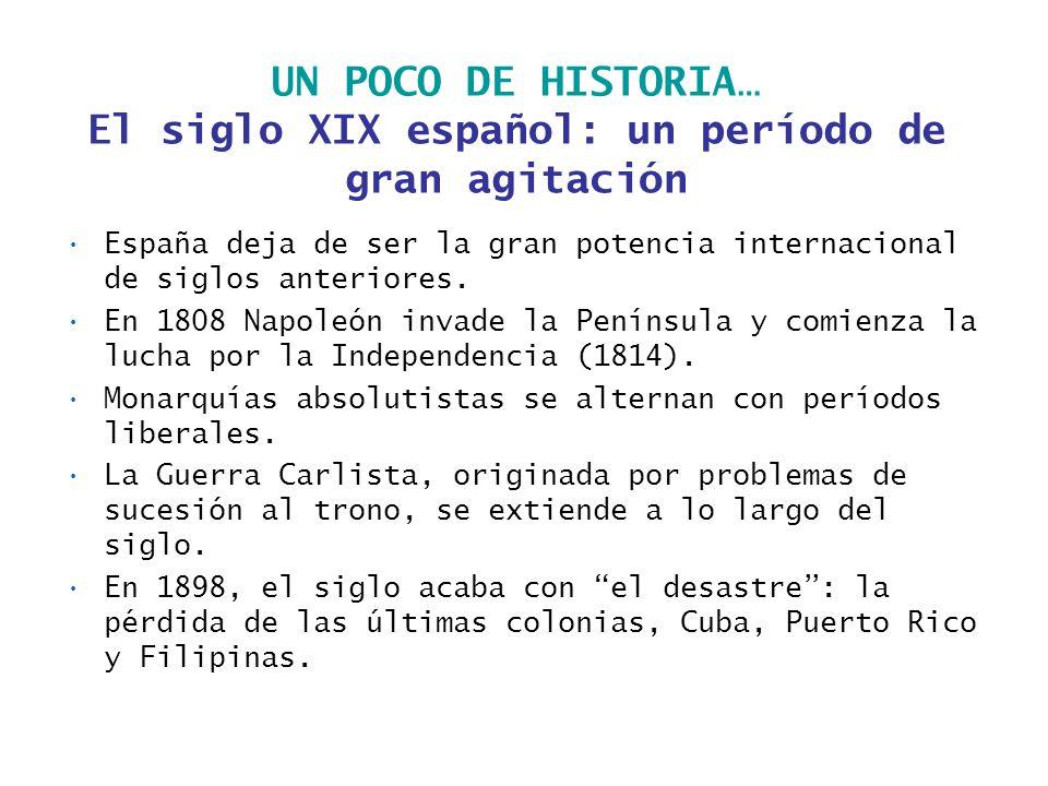 UN POCO DE HISTORIA… El siglo XIX español: un período de gran agitación España deja de ser la gran potencia internacional de siglos anteriores. En 180
