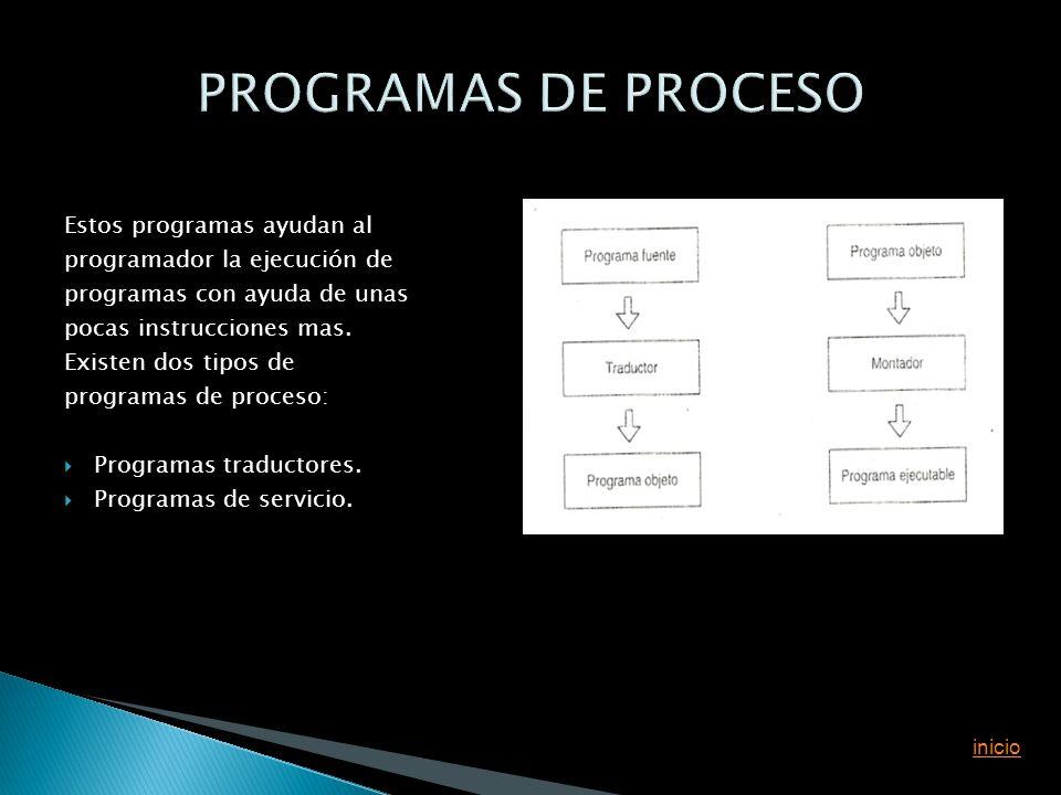 Estos programas ayudan al programador la ejecución de programas con ayuda de unas pocas instrucciones mas. Existen dos tipos de programas de proceso: