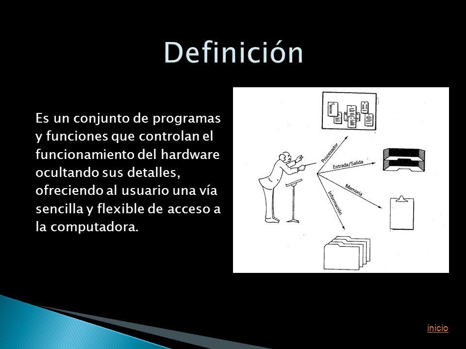 Es un conjunto de programas y funciones que controlan el funcionamiento del hardware ocultando sus detalles, ofreciendo al usuario una vía sencilla y