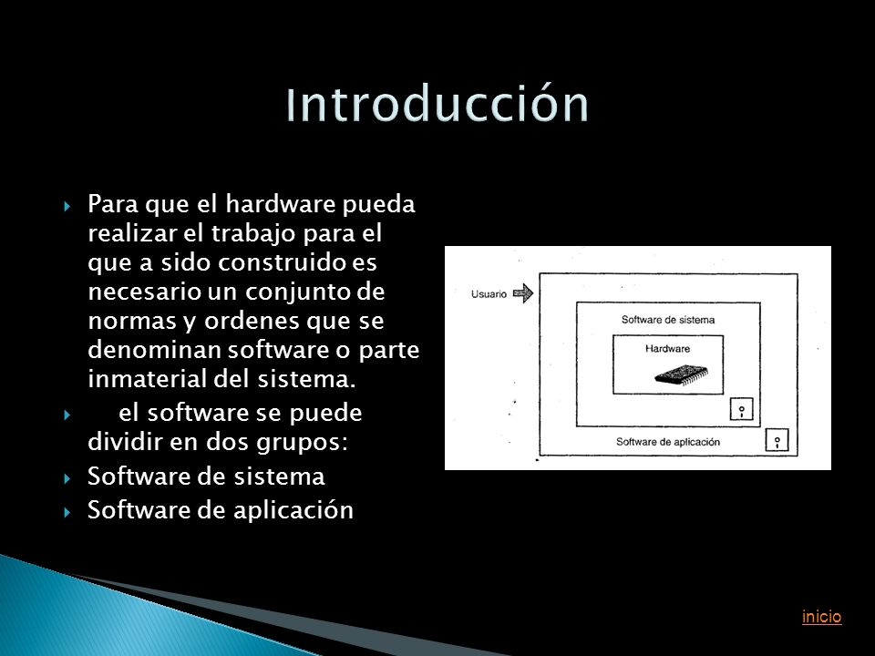 Para que el hardware pueda realizar el trabajo para el que a sido construido es necesario un conjunto de normas y ordenes que se denominan software o