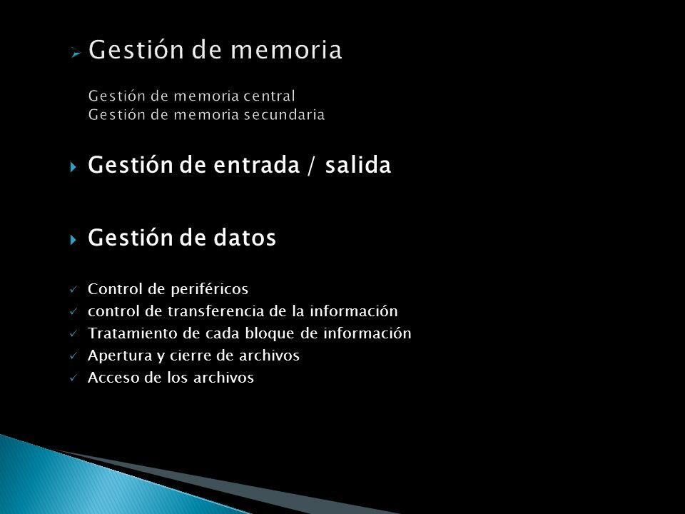 Gestión de memoria Gestión de memoria central Gestión de memoria secundaria Gestión de memoria Gestión de memoria central Gestión de memoria secundari