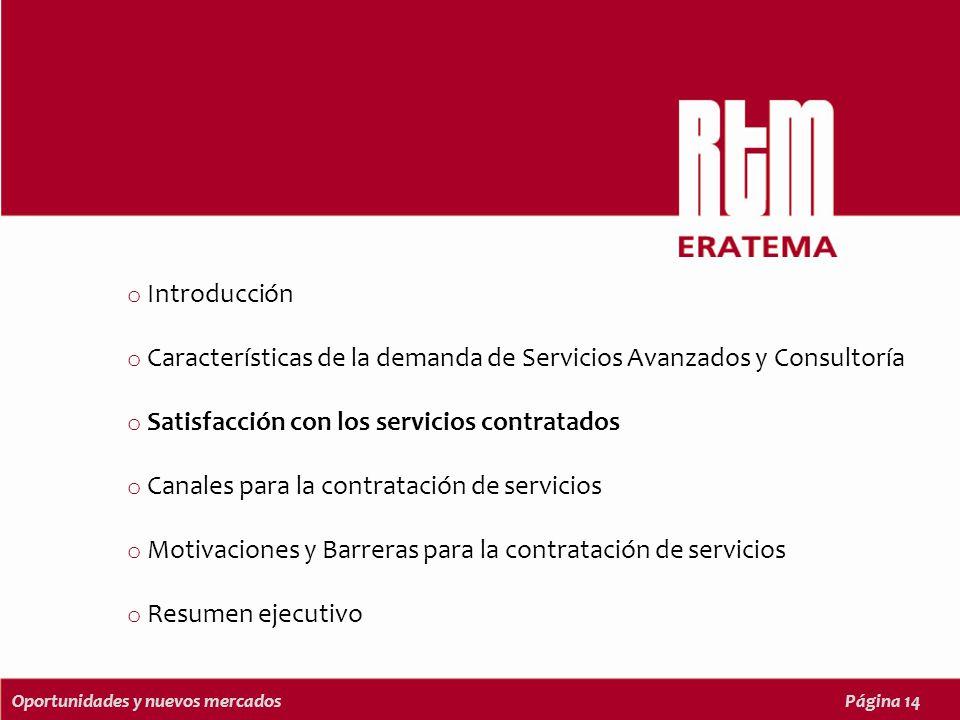 Oportunidades y nuevos mercadosPágina 14 o Introducción o Características de la demanda de Servicios Avanzados y Consultoría o Satisfacción con los servicios contratados o Canales para la contratación de servicios o Motivaciones y Barreras para la contratación de servicios o Resumen ejecutivo