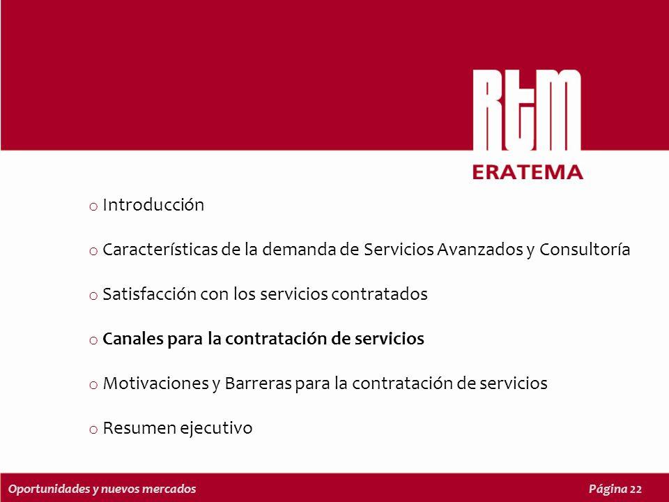 Oportunidades y nuevos mercadosPágina 22 o Introducción o Características de la demanda de Servicios Avanzados y Consultoría o Satisfacción con los servicios contratados o Canales para la contratación de servicios o Motivaciones y Barreras para la contratación de servicios o Resumen ejecutivo