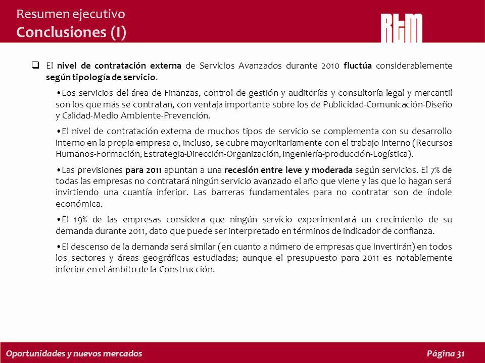Oportunidades y nuevos mercadosPágina 31 Resumen ejecutivo Conclusiones (I) El nivel de contratación externa de Servicios Avanzados durante 2010 fluctúa considerablemente según tipología de servicio.