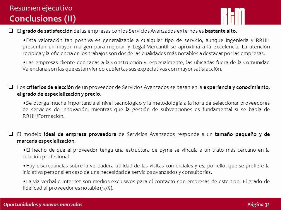 Oportunidades y nuevos mercadosPágina 32 Resumen ejecutivo Conclusiones (II) El grado de satisfacción de las empresas con los Servicios Avanzados externos es bastante alto.