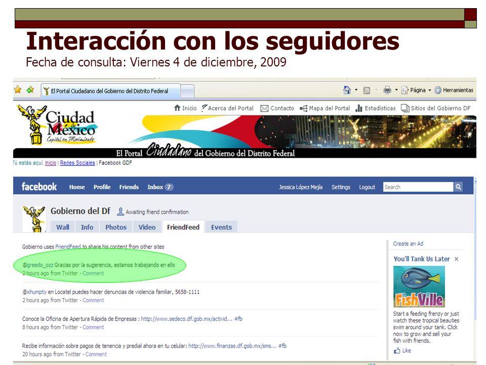 Interacción con los seguidores Fecha de consulta: Viernes 4 de diciembre, 2009