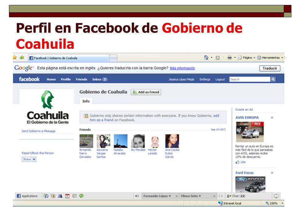 Perfil en Facebook de Gobierno de Coahuila