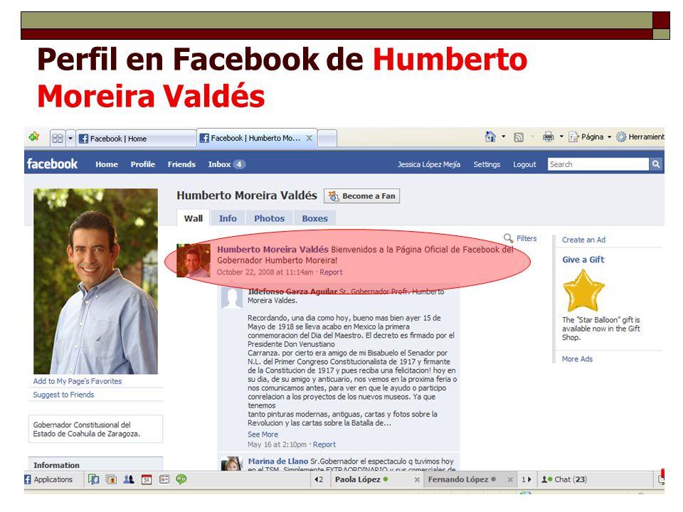 Perfil en Facebook de Humberto Moreira Valdés