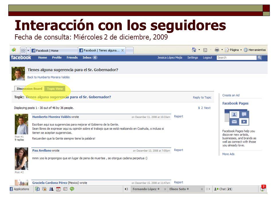 Interacción con los seguidores Fecha de consulta: Miércoles 2 de diciembre, 2009