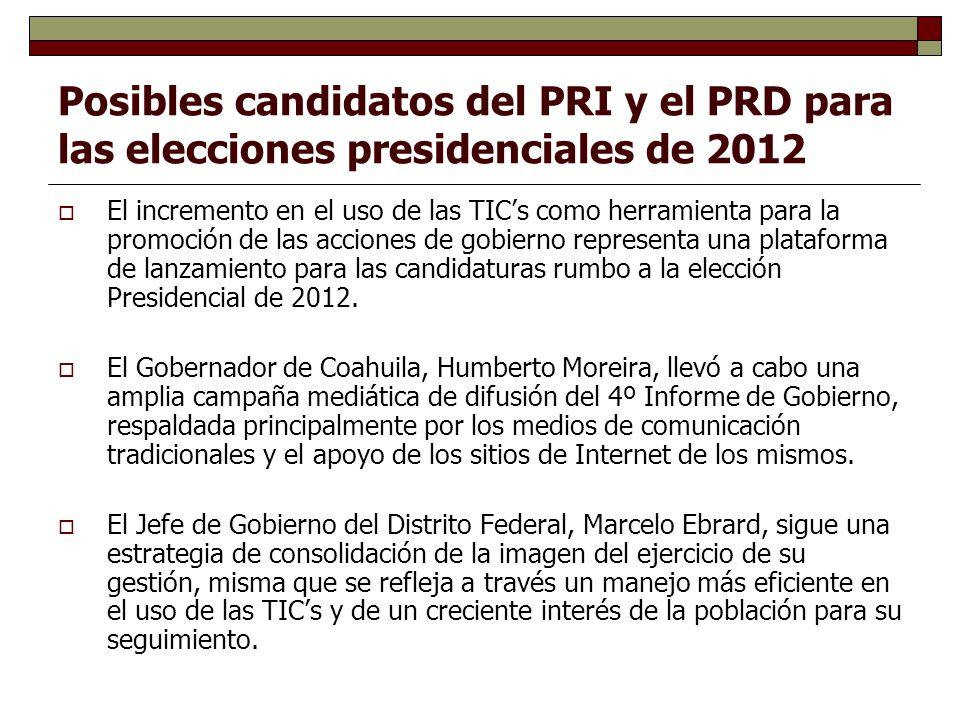 Posibles candidatos del PRI y el PRD para las elecciones presidenciales de 2012 El incremento en el uso de las TICs como herramienta para la promoción de las acciones de gobierno representa una plataforma de lanzamiento para las candidaturas rumbo a la elección Presidencial de 2012.