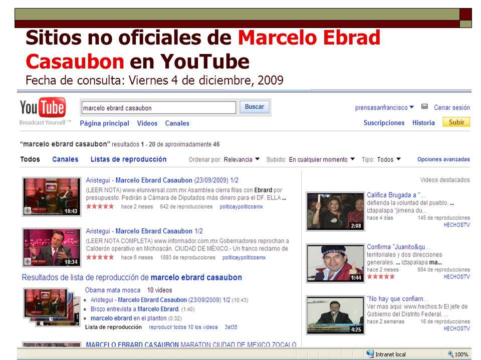 Sitios no oficiales de Marcelo Ebrad Casaubon en YouTube Fecha de consulta: Viernes 4 de diciembre, 2009