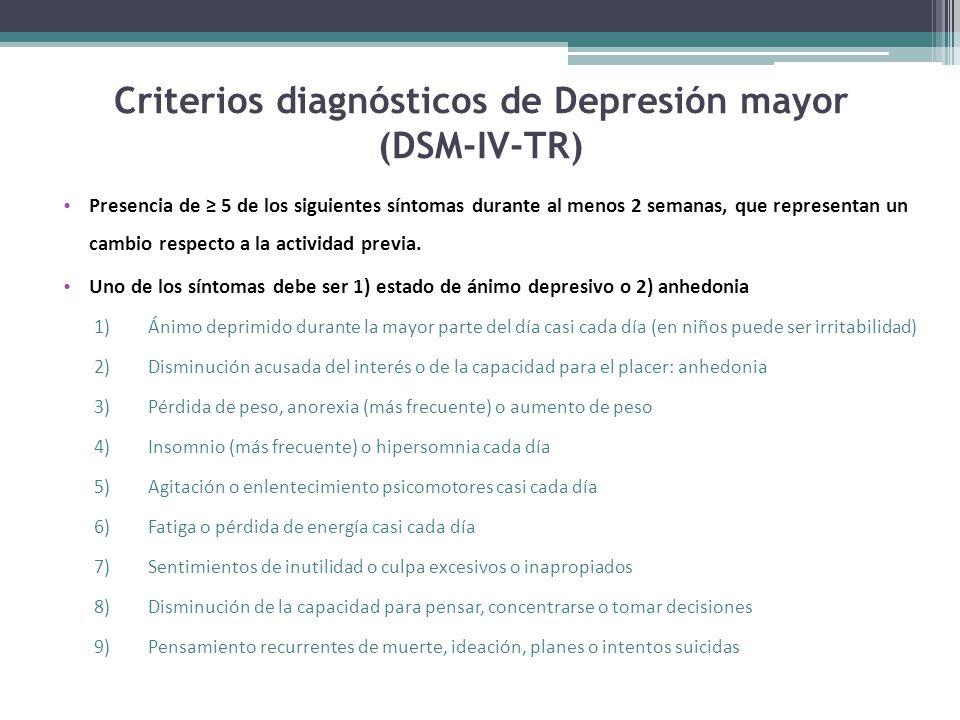 Criterios diagnósticos de Depresión mayor (DSM-IV-TR) Presencia de 5 de los siguientes síntomas durante al menos 2 semanas, que representan un cambio respecto a la actividad previa.