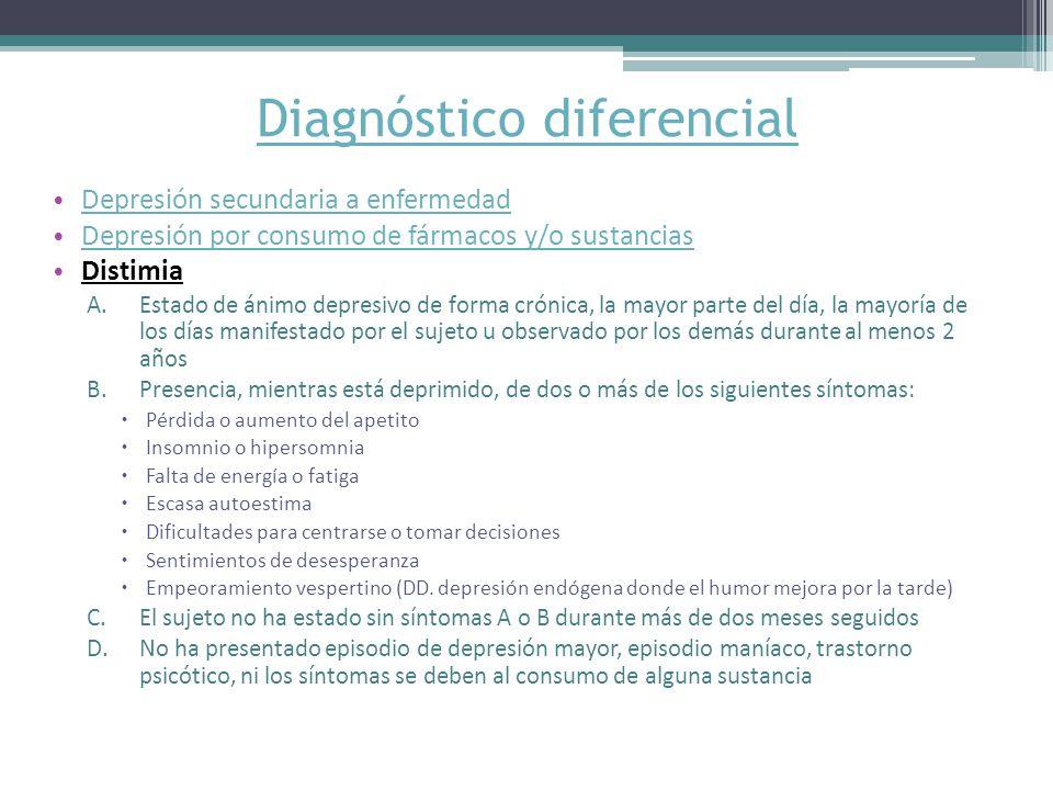 Diagnóstico diferencial Depresión secundaria a enfermedad Depresión por consumo de fármacos y/o sustancias Distimia A.Estado de ánimo depresivo de forma crónica, la mayor parte del día, la mayoría de los días manifestado por el sujeto u observado por los demás durante al menos 2 años B.Presencia, mientras está deprimido, de dos o más de los siguientes síntomas: Pérdida o aumento del apetito Insomnio o hipersomnia Falta de energía o fatiga Escasa autoestima Dificultades para centrarse o tomar decisiones Sentimientos de desesperanza Empeoramiento vespertino (DD.