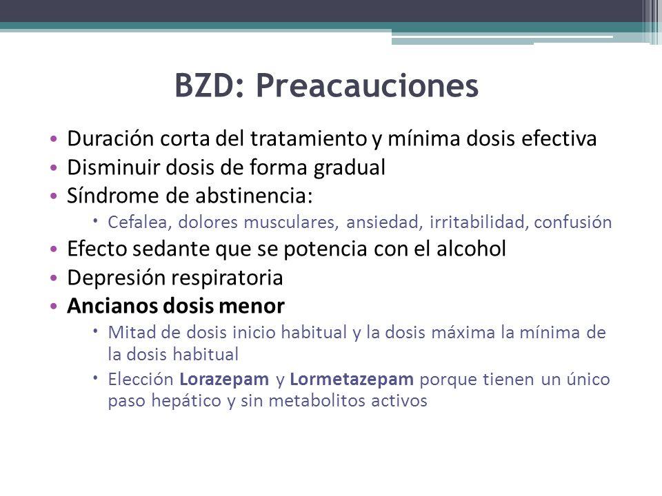 BZD: Preacauciones Duración corta del tratamiento y mínima dosis efectiva Disminuir dosis de forma gradual Síndrome de abstinencia: Cefalea, dolores musculares, ansiedad, irritabilidad, confusión Efecto sedante que se potencia con el alcohol Depresión respiratoria Ancianos dosis menor Mitad de dosis inicio habitual y la dosis máxima la mínima de la dosis habitual Elección Lorazepam y Lormetazepam porque tienen un único paso hepático y sin metabolitos activos