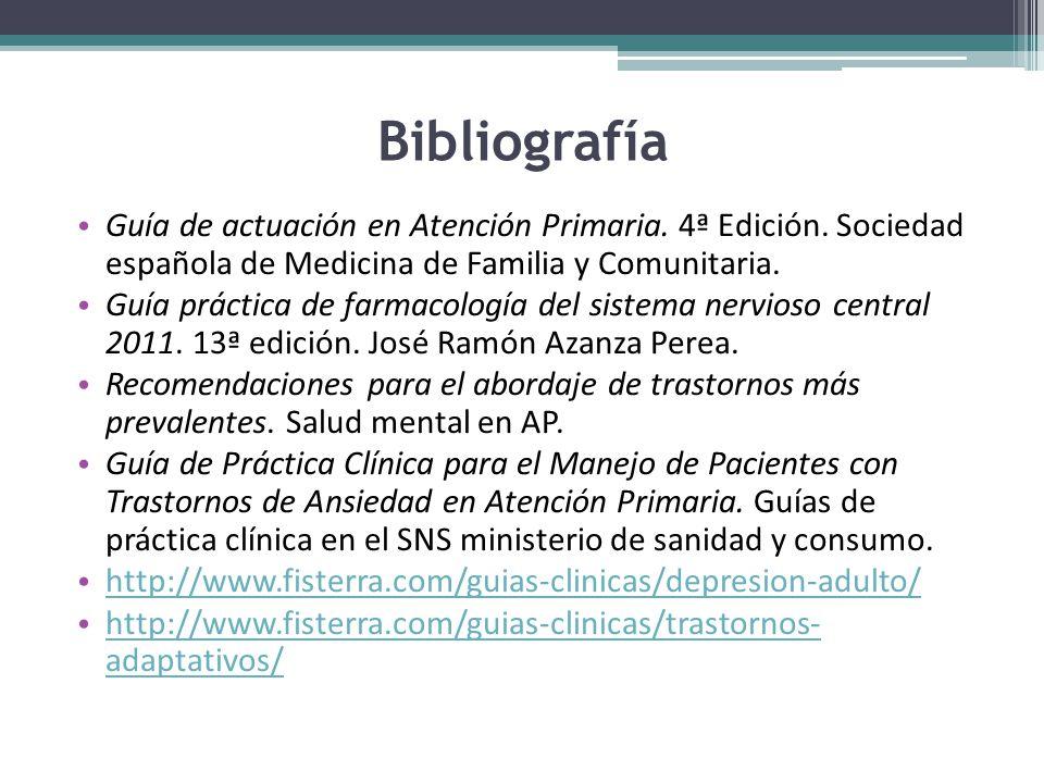 Bibliografía Guía de actuación en Atención Primaria.