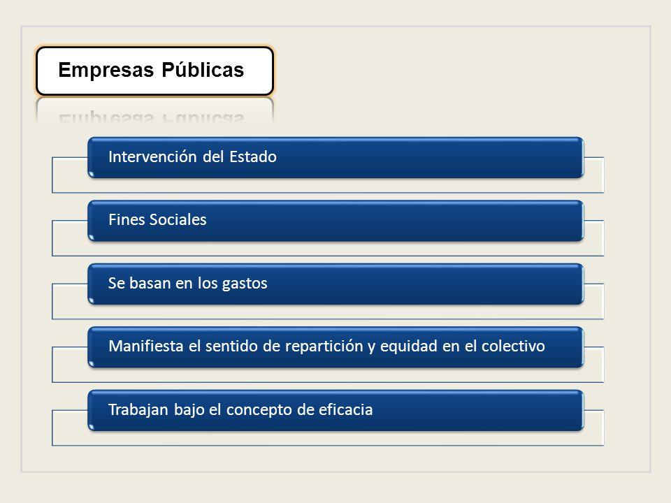 Intervención del EstadoFines SocialesSe basan en los gastosManifiesta el sentido de repartición y equidad en el colectivoTrabajan bajo el concepto de eficacia
