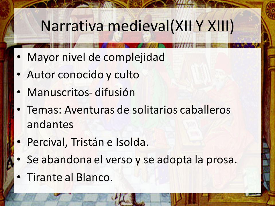 Narrativa medieval(XII Y XIII) Mayor nivel de complejidad Autor conocido y culto Manuscritos- difusión Temas: Aventuras de solitarios caballeros andan