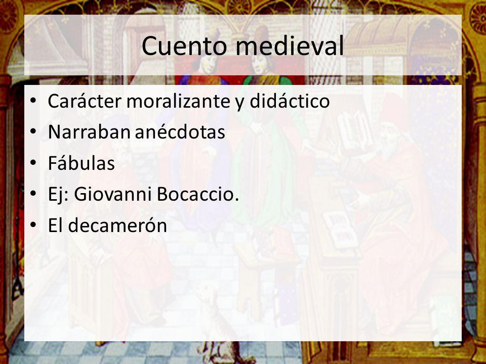 Cuento medieval Carácter moralizante y didáctico Narraban anécdotas Fábulas Ej: Giovanni Bocaccio. El decamerón
