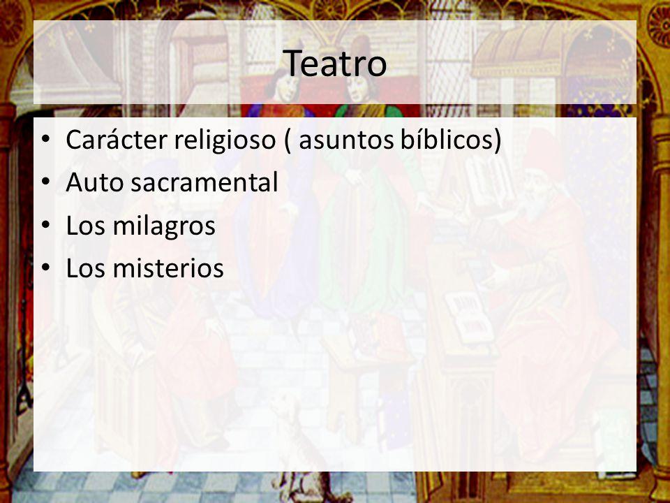 Teatro Carácter religioso ( asuntos bíblicos) Auto sacramental Los milagros Los misterios