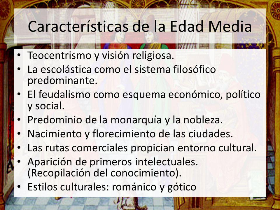Características de la Edad Media Teocentrismo y visión religiosa. La escolástica como el sistema filosófico predominante. El feudalismo como esquema e