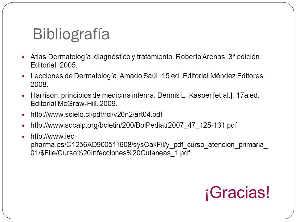 Bibliografía Atlas Dermatología, diagnóstico y tratamiento. Roberto Arenas, 3ª edición. Editorial. 2005. Lecciones de Dermatología. Amado Saúl. 15 ed.