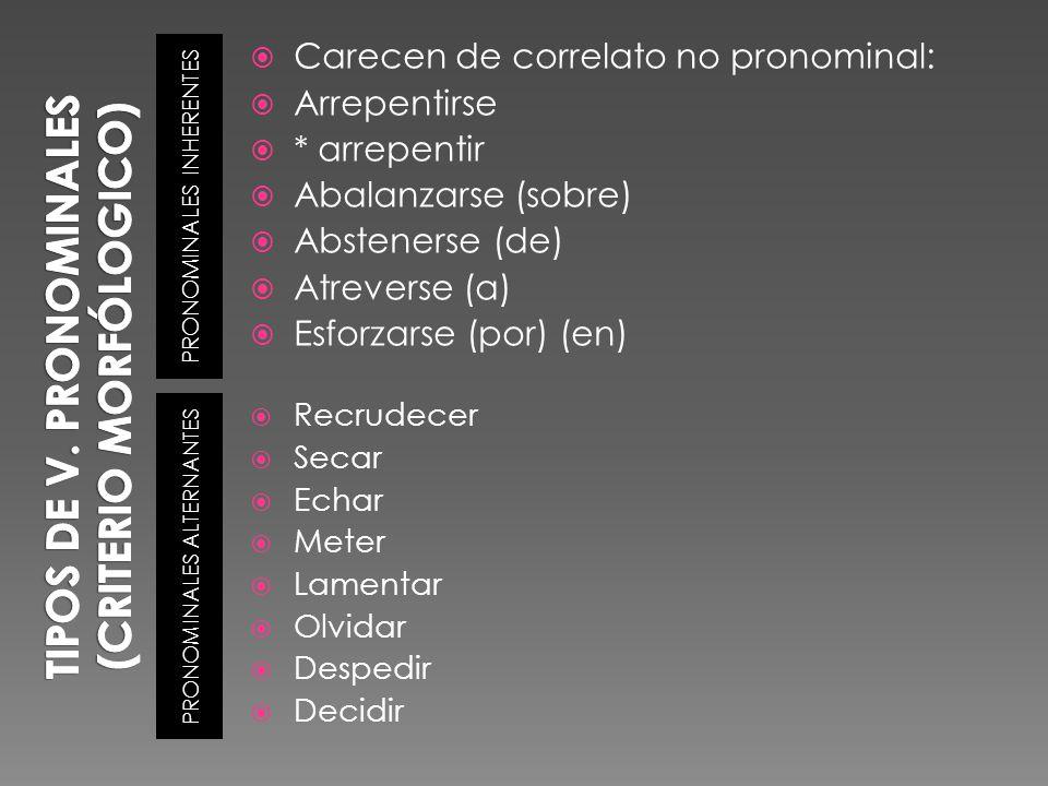 PRONOMINALES INHERENTES PRONOMINALES ALTERNANTES Carecen de correlato no pronominal: Arrepentirse * arrepentir Abalanzarse (sobre) Abstenerse (de) Atr