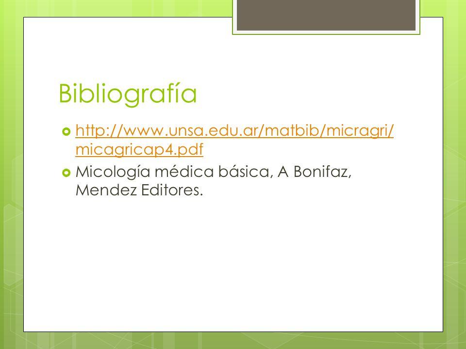 Bibliografía http://www.unsa.edu.ar/matbib/micragri/ micagricap4.pdf http://www.unsa.edu.ar/matbib/micragri/ micagricap4.pdf Micología médica básica,