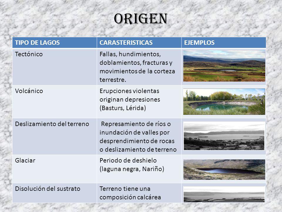 Origen TIPO DE LAGOSCARASTERISTICASEJEMPLOS TectónicoFallas, hundimientos, doblamientos, fracturas y movimientos de la corteza terrestre. VolcánicoEru
