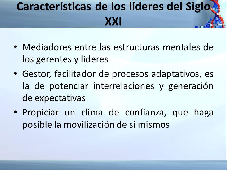 Características de los líderes del Siglo XXI Mediadores entre las estructuras mentales de los gerentes y lideres Gestor, facilitador de procesos adapt