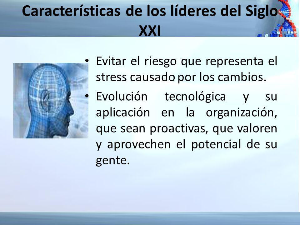 Características de los líderes del Siglo XXI Evitar el riesgo que representa el stress causado por los cambios. Evolución tecnológica y su aplicación