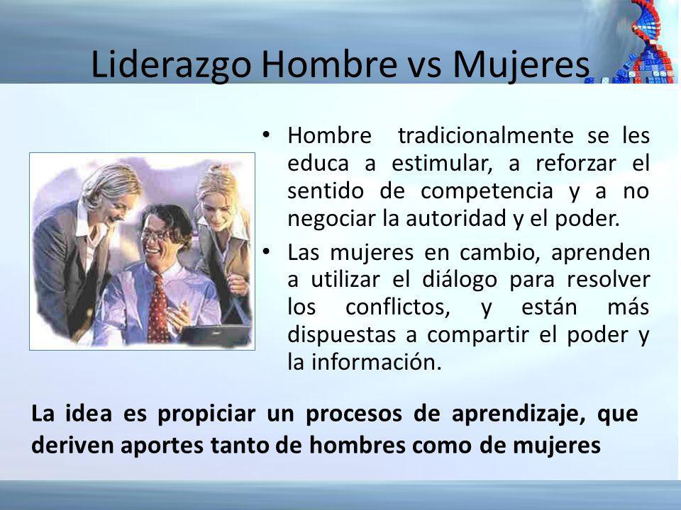 Liderazgo Hombre vs Mujeres Hombre tradicionalmente se les educa a estimular, a reforzar el sentido de competencia y a no negociar la autoridad y el p