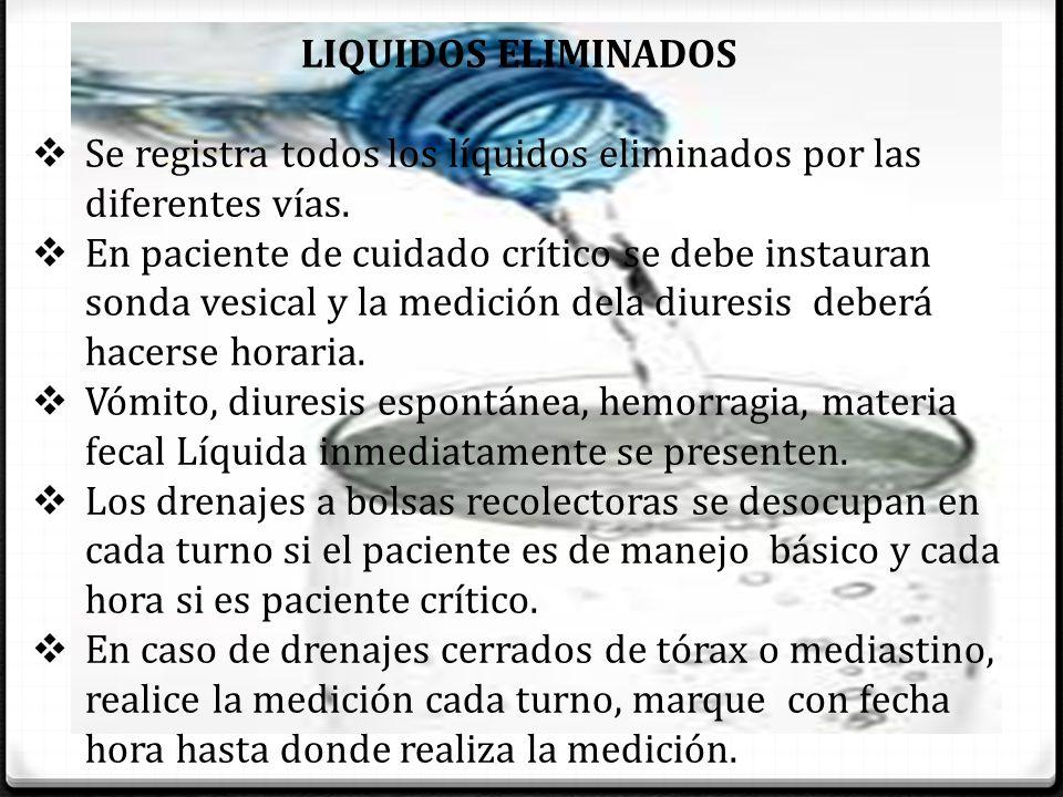 LIQUIDOS ELIMINADOS Se registra todos los líquidos eliminados por las diferentes vías.