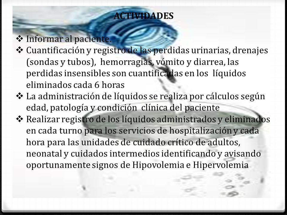 ACTIVIDADES Informar al paciente.