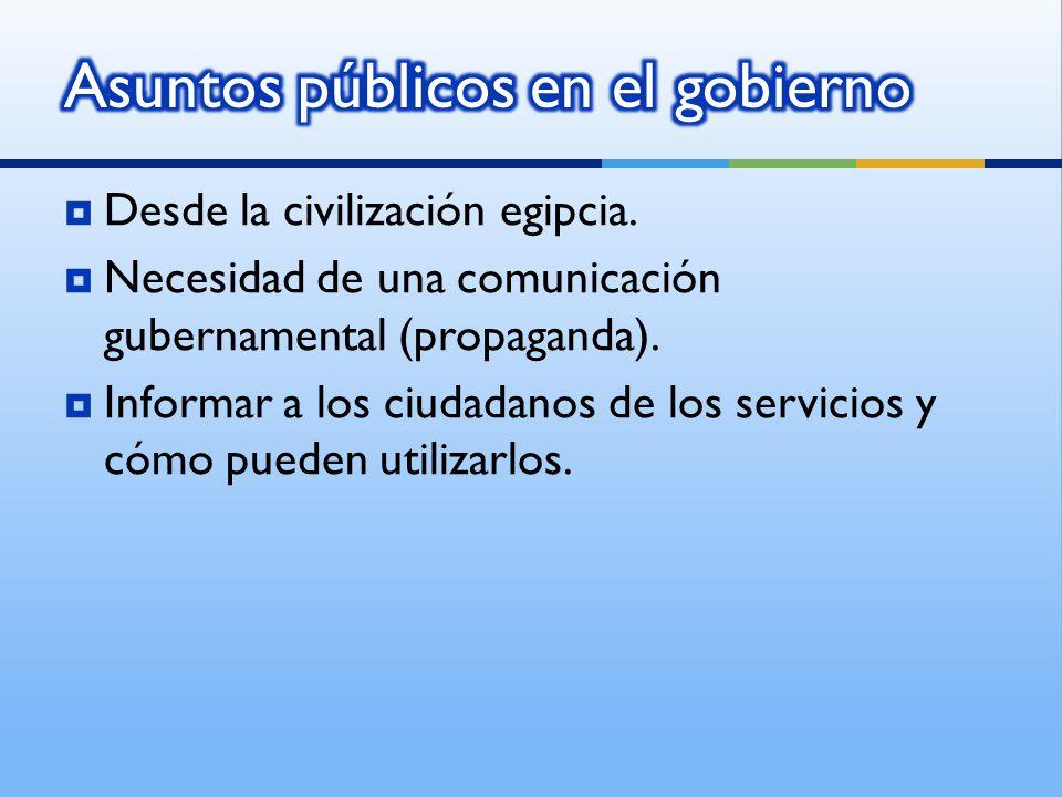 Desde la civilización egipcia. Necesidad de una comunicación gubernamental (propaganda).