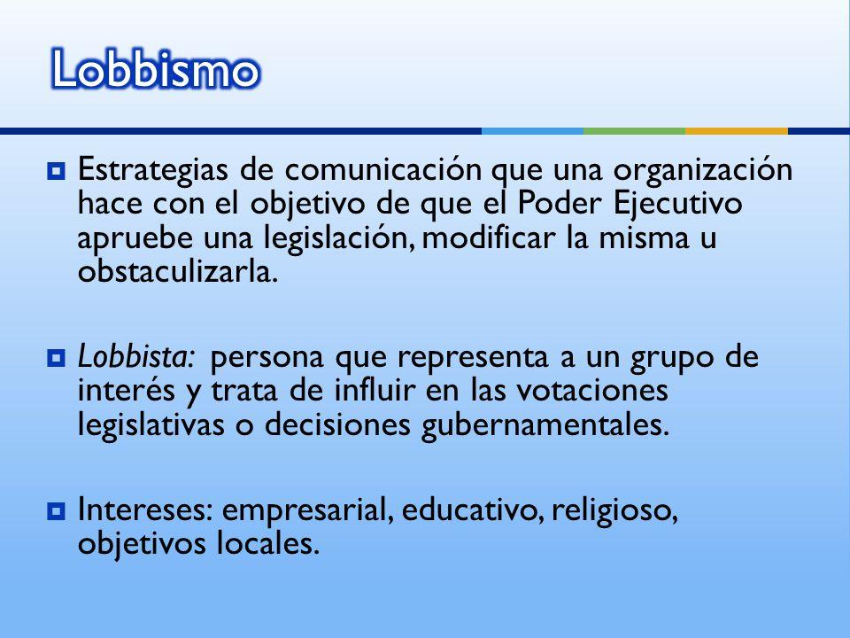 Estrategias de comunicación que una organización hace con el objetivo de que el Poder Ejecutivo apruebe una legislación, modificar la misma u obstaculizarla.