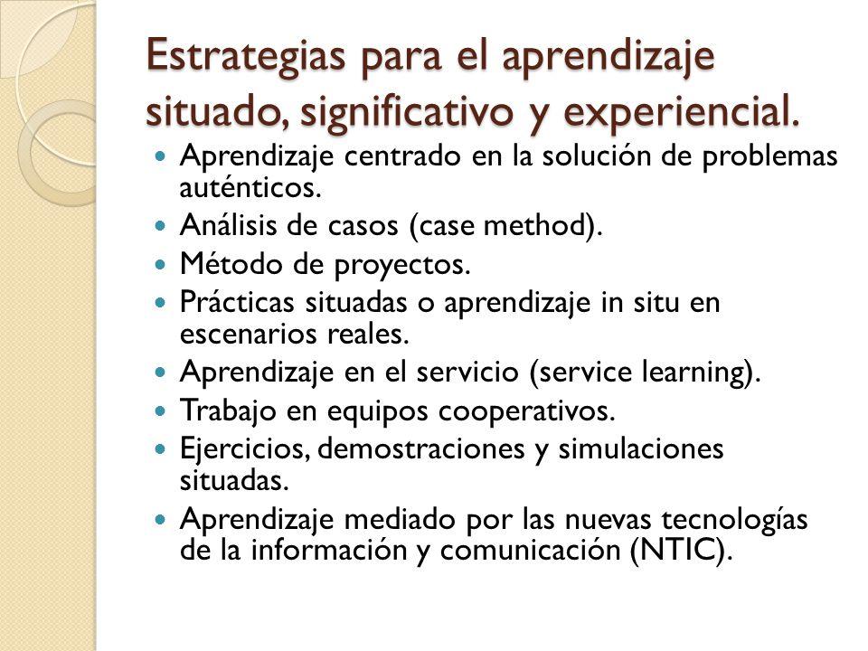 Estrategias para el aprendizaje situado, significativo y experiencial. Aprendizaje centrado en la solución de problemas auténticos. Análisis de casos