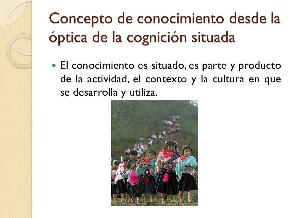 Concepto de conocimiento desde la óptica de la cognición situada El conocimiento es situado, es parte y producto de la actividad, el contexto y la cul