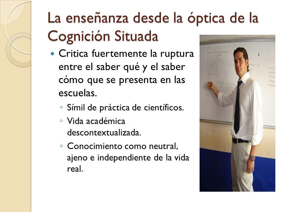La enseñanza desde la óptica de la Cognición Situada Este enfoque parte de la idea de que la enseñanza debe estar concentrada en promover práctica educativas auténticas: Relevantes culturalmente.