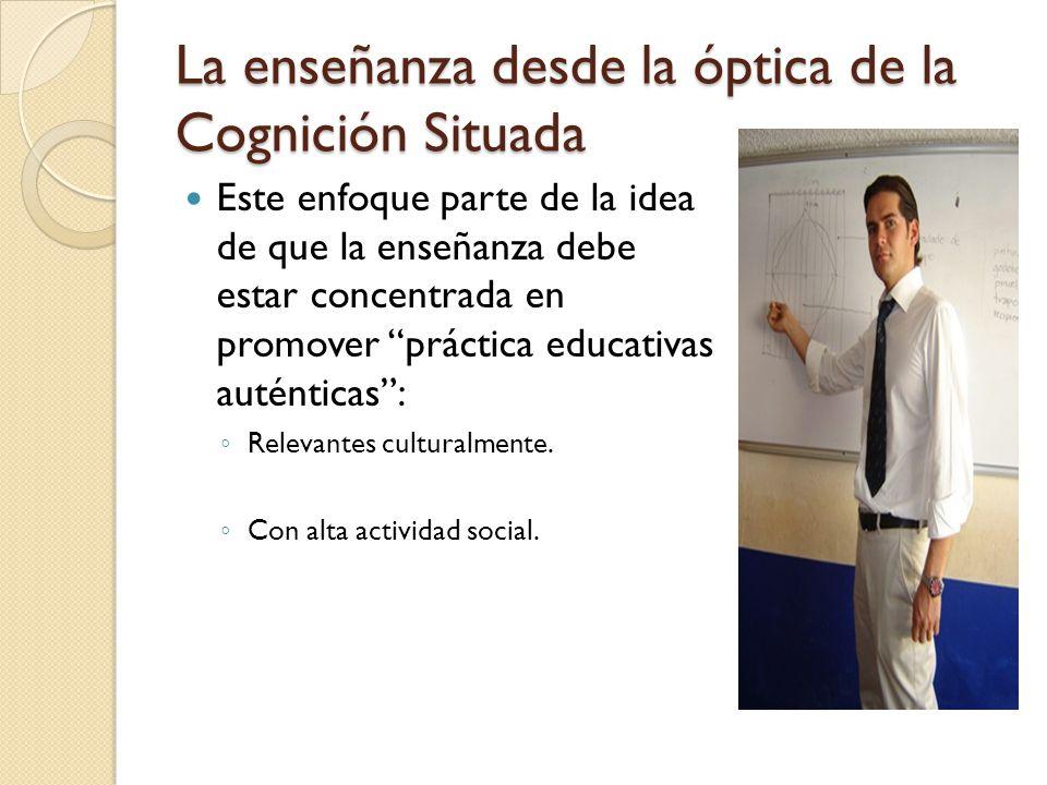 La enseñanza desde la óptica de la Cognición Situada Refiere que en la enseñanza es muy importante la interacción, la colaboración, la emulación y el diálogo por ello promueve: Procesos de andamiaje Negociación de significados Construcción conjunta de saberes