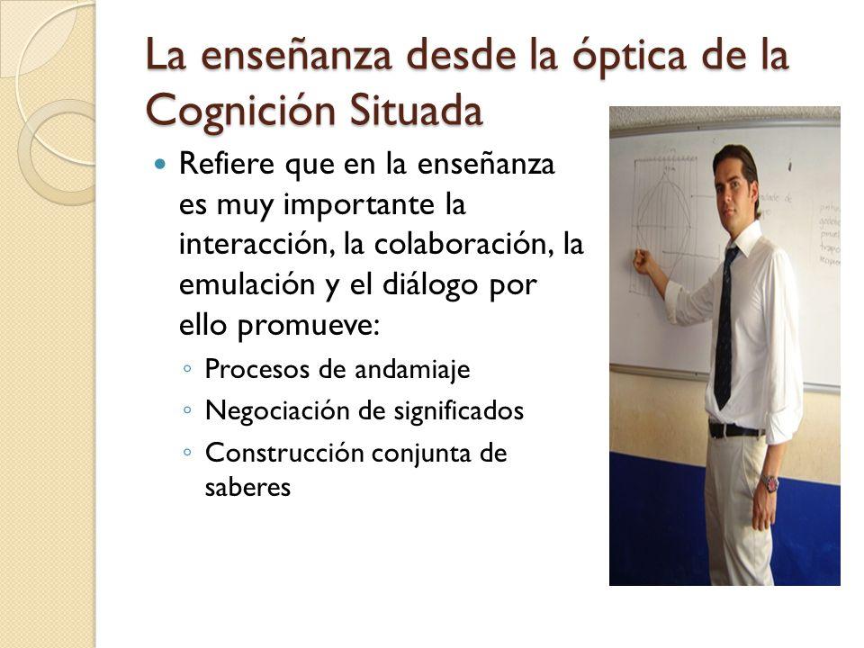 La enseñanza desde la óptica de la Cognición Situada Refiere que en la enseñanza es muy importante la interacción, la colaboración, la emulación y el