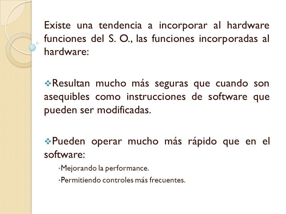 Existe una tendencia a incorporar al hardware funciones del S. O., las funciones incorporadas al hardware: Resultan mucho más seguras que cuando son a