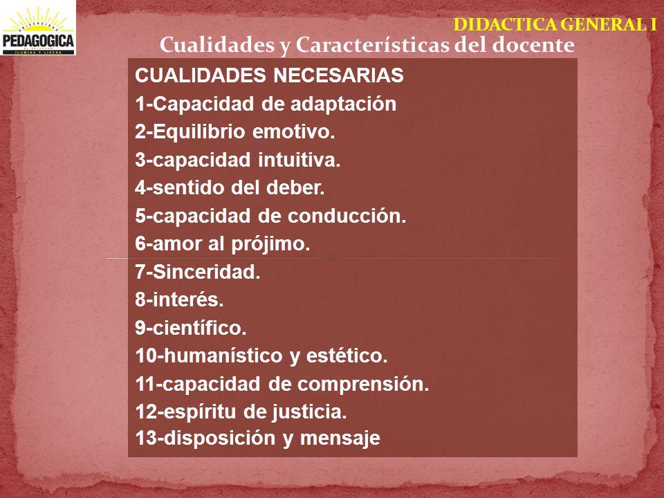 DIDACTICA GENERAL I Cualidades y Características del docente CUALIDADES NECESARIAS 1-Capacidad de adaptación 2-Equilibrio emotivo. 3-capacidad intuiti
