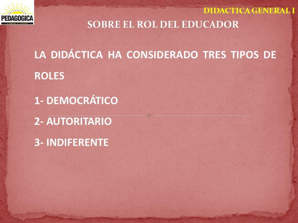 DIDACTICA GENERAL I SOBRE EL ROL DEL EDUCADOR LA DIDÁCTICA HA CONSIDERADO TRES TIPOS DE ROLES 1- DEMOCRÁTICO 2- AUTORITARIO 3- INDIFERENTE