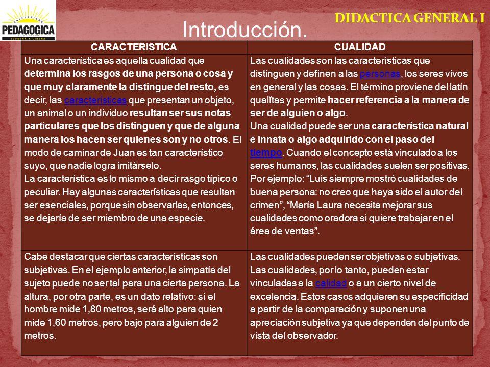 DIDACTICA GENERAL I Introducción. CARACTERISTICACUALIDAD Una característica es aquella cualidad que determina los rasgos de una persona o cosa y que m
