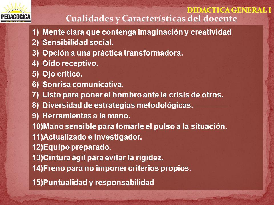 DIDACTICA GENERAL I Cualidades y Características del docente 1)Mente clara que contenga imaginación y creatividad 2)Sensibilidad social. 3)Opción a un
