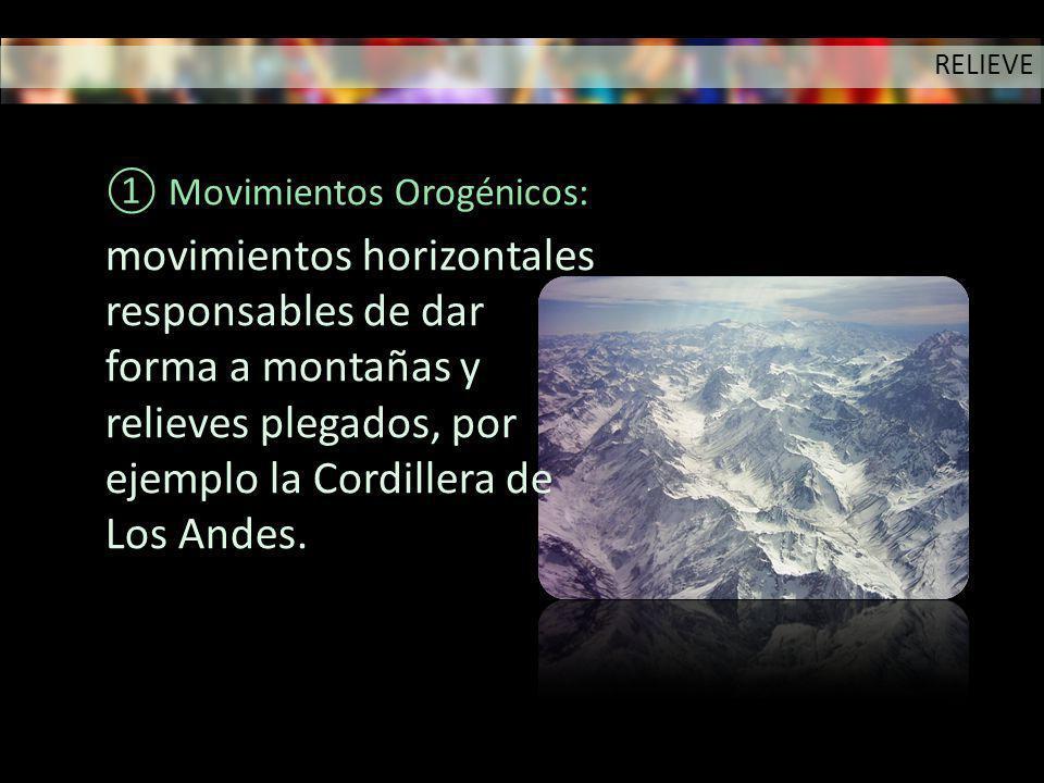 Movimientos Orogénicos: movimientos horizontales responsables de dar forma a montañas y relieves plegados, por ejemplo la Cordillera de Los Andes. REL