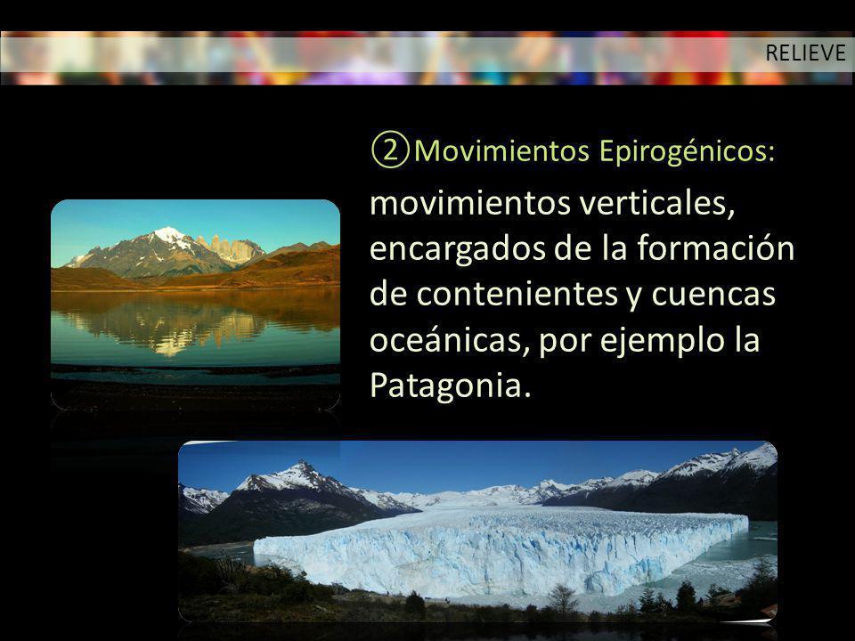 Movimientos Epirogénicos: movimientos verticales, encargados de la formación de contenientes y cuencas oceánicas, por ejemplo la Patagonia. RELIEVE